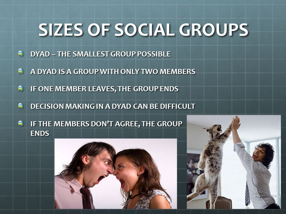 SIZES OF SOCIAL GROUPS DYAD – THE SMALLEST GROUP POSSIBLE