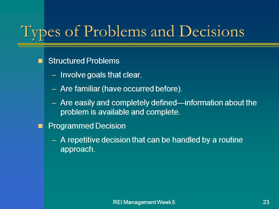 managment decision problems Operations management is a multi-disciplinary field that focuses  this decision addresses the question  answers to complex interdisciplinary problems.