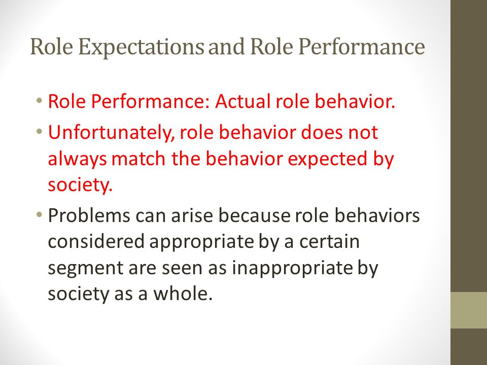 Role Expectations and Role Performance