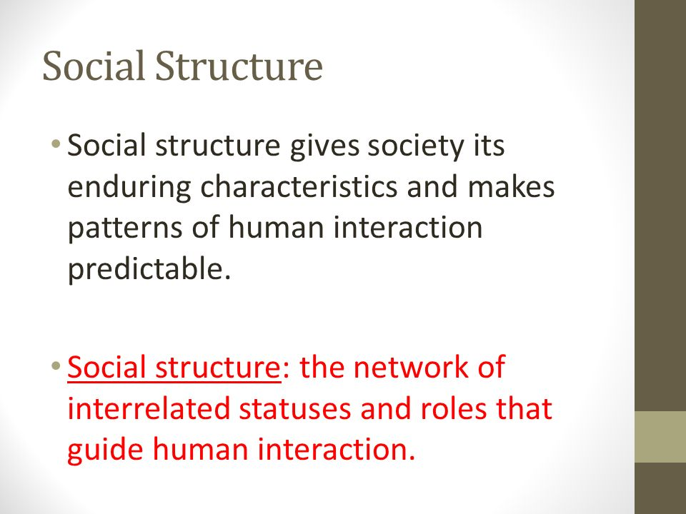 Social Structure Social structure gives society its enduring characteristics and makes patterns of human interaction predictable.