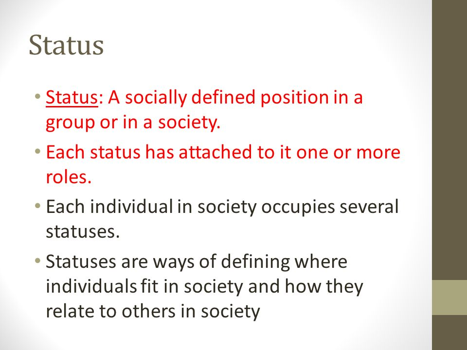 Status Status: A socially defined position in a group or in a society.