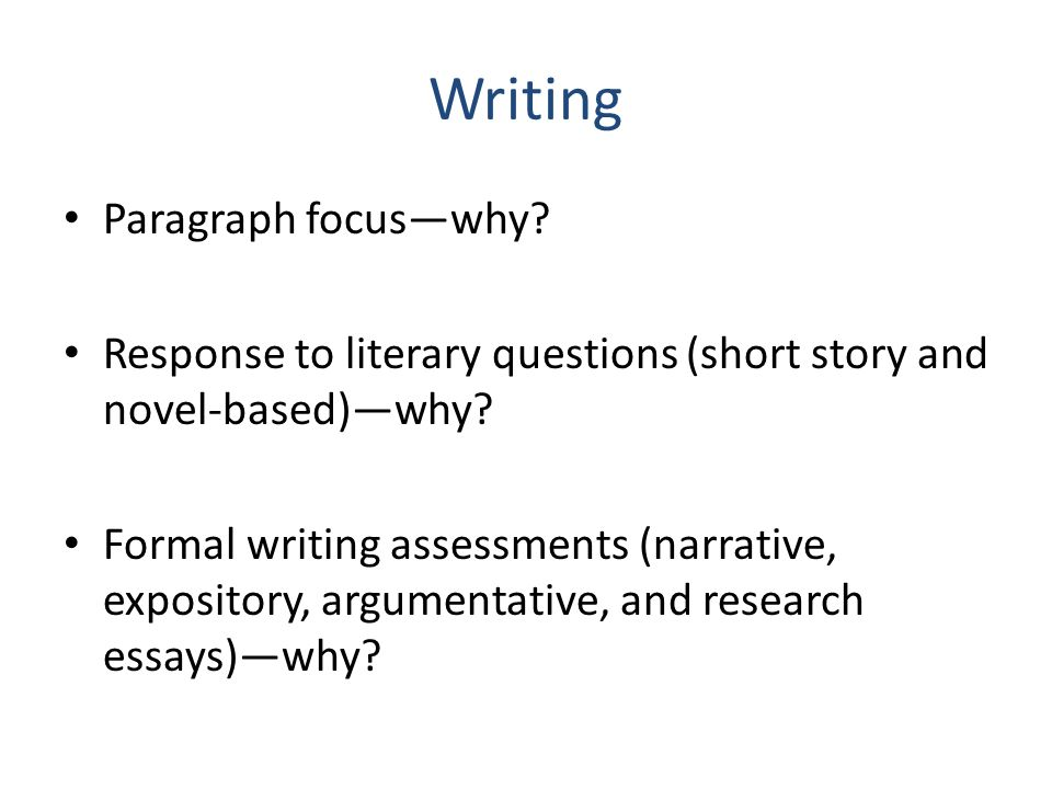 Writing Paragraph focus—why