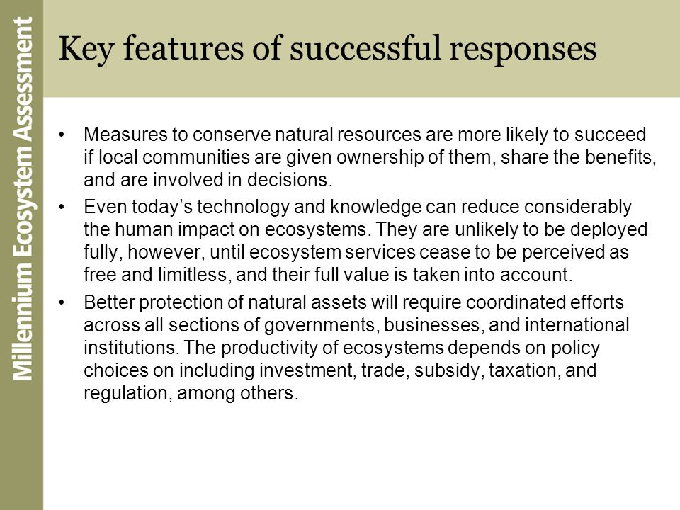 Key features of successful responses