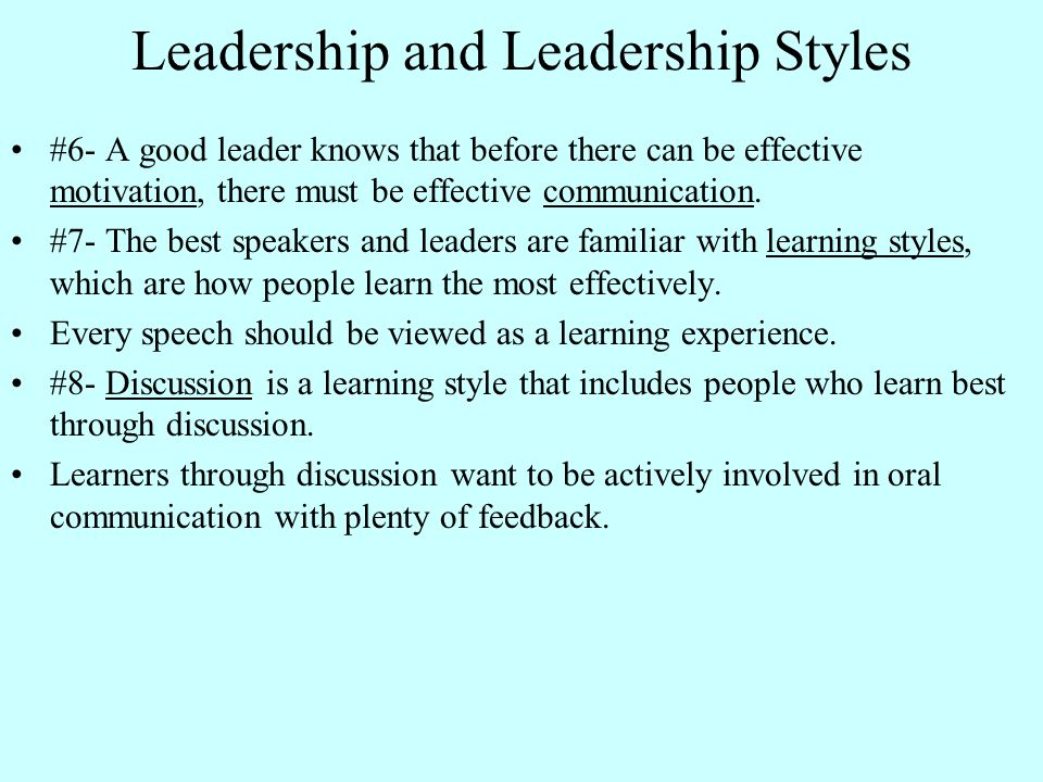 leadership style communication Democratic leadership c laissez faire leadership learn with flashcards, games, and more — for free  leadership styles a autocratic leadership .