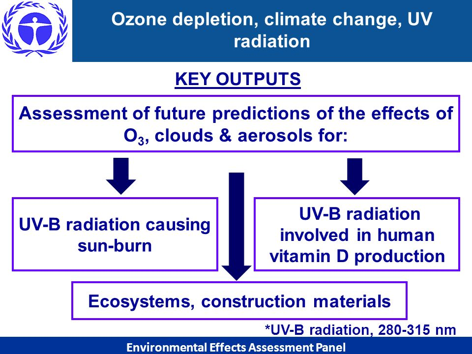 Ozone depletion, climate change, UV radiation