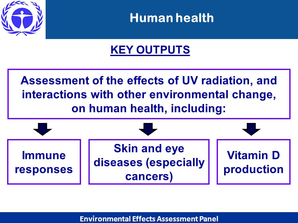 Skin and eye diseases (especially cancers) on human health, including: