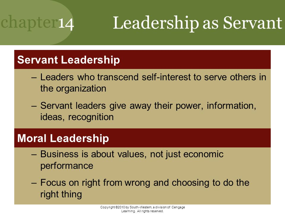 """values of servant leadership While traditional leadership generally involves the accumulation and exercise of power by one at the """"top of the pyramid,"""" servant leadership is different the servant-leader shares power, puts the needs of others first and helps people develop and perform as highly as possible."""