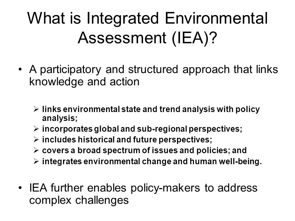 What is Integrated Environmental Assessment (IEA)
