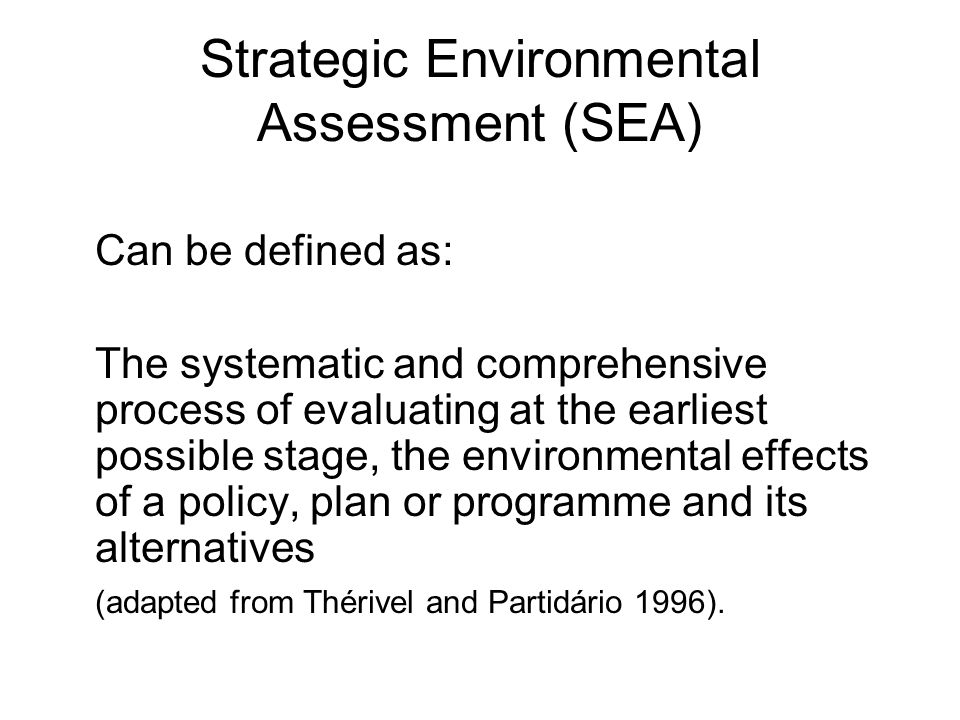 Strategic Environmental Assessment (SEA)