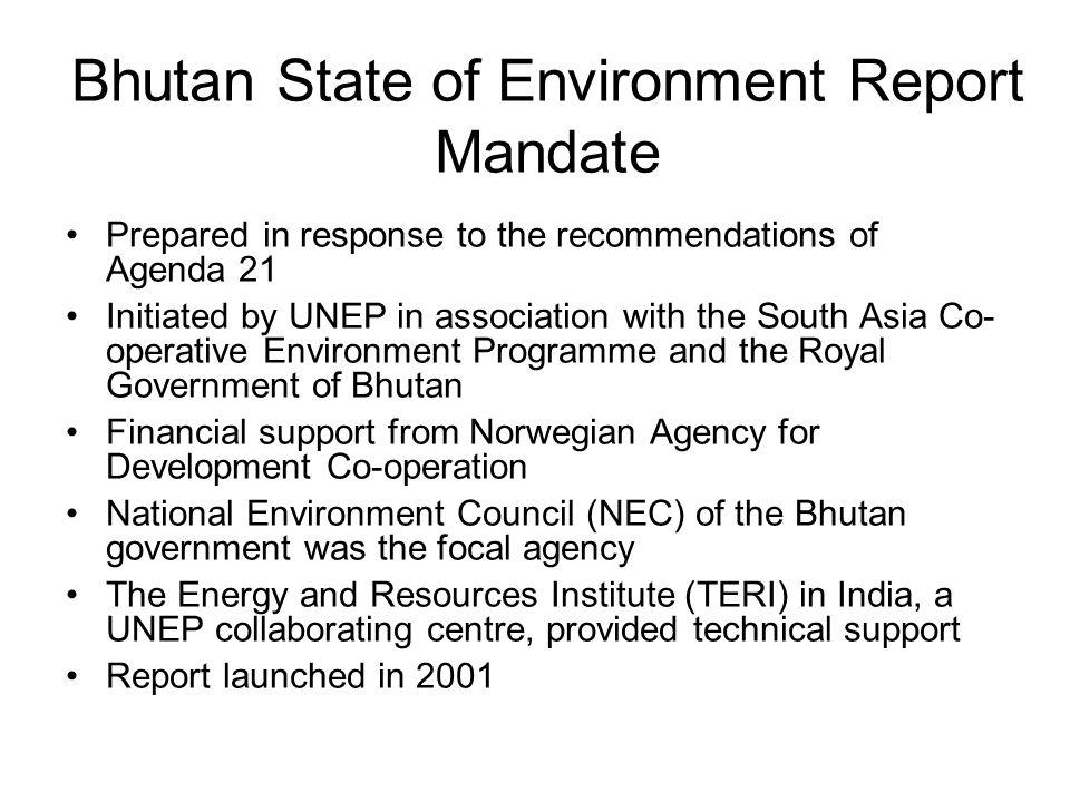 Bhutan State of Environment Report Mandate