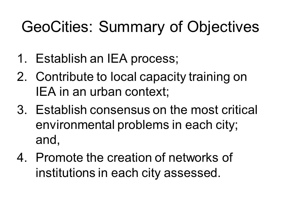 GeoCities: Summary of Objectives