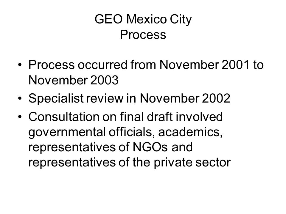 GEO Mexico City Process