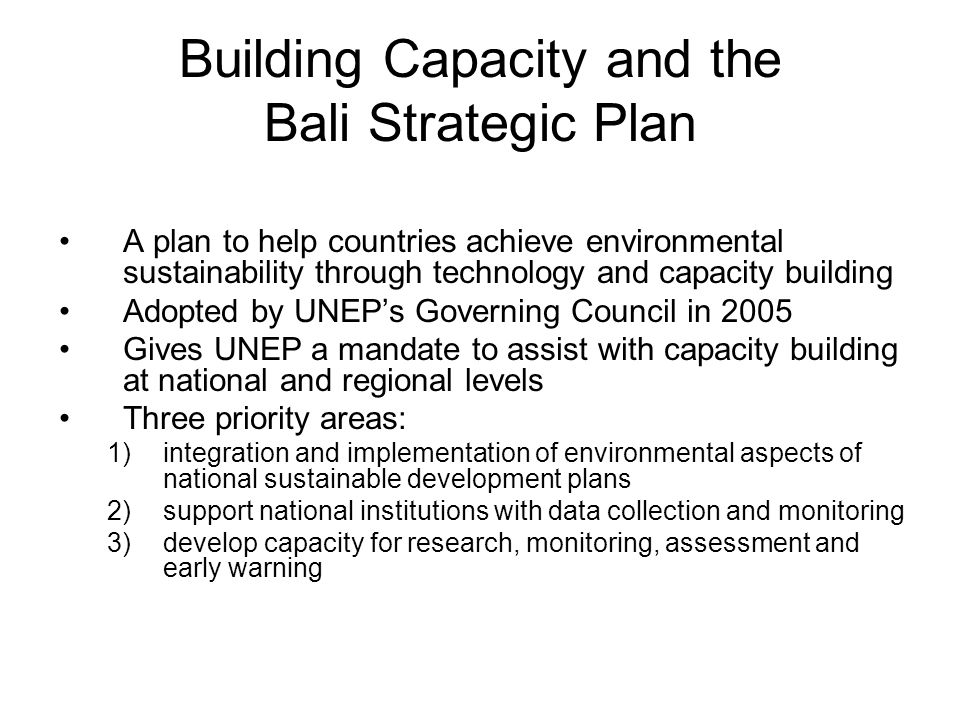 Building Capacity and the Bali Strategic Plan
