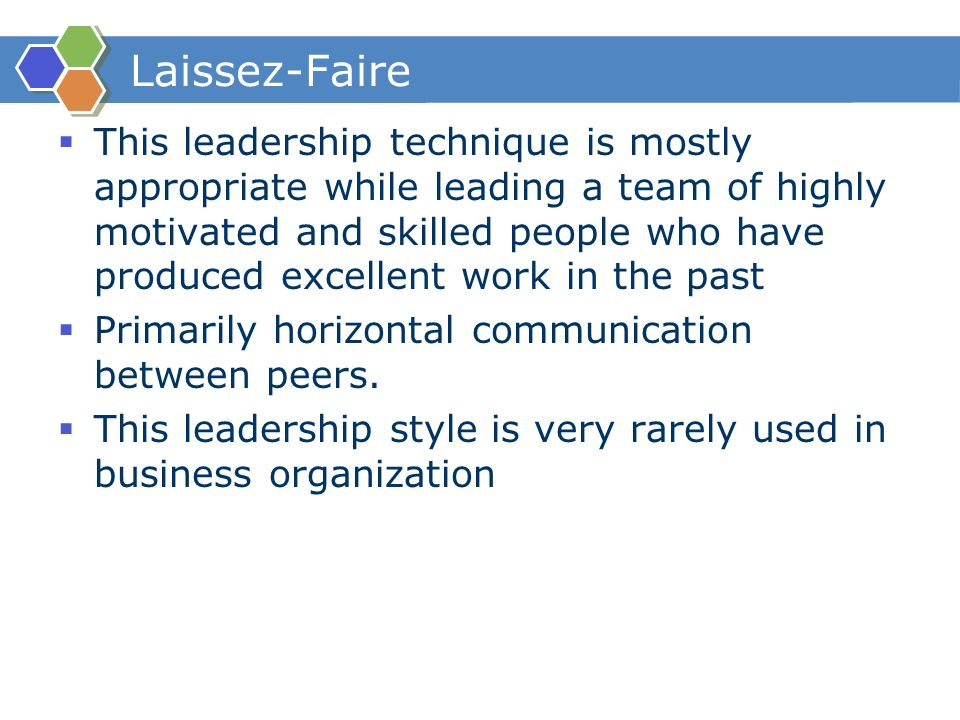 leadership style activities Those in management positions must develop a leadership style the selection of the style is contingent on the leader's personal traits, the people she will lead, and the nature of the activity.