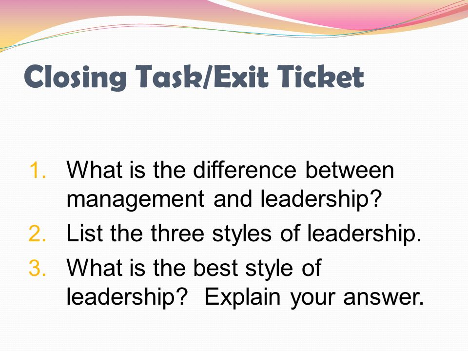 Closing Task/Exit Ticket