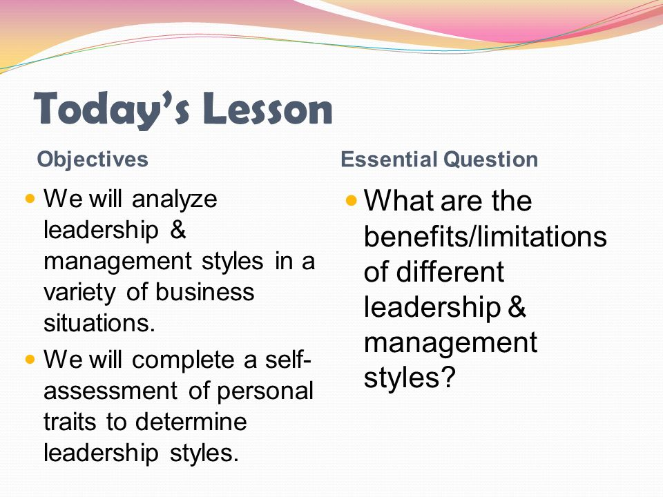 Today's Lesson Objectives. Essential Question. We will analyze leadership & management styles in a variety of business situations.