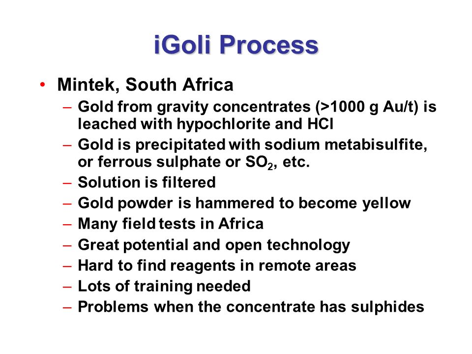 iGoli Process Mintek, South Africa