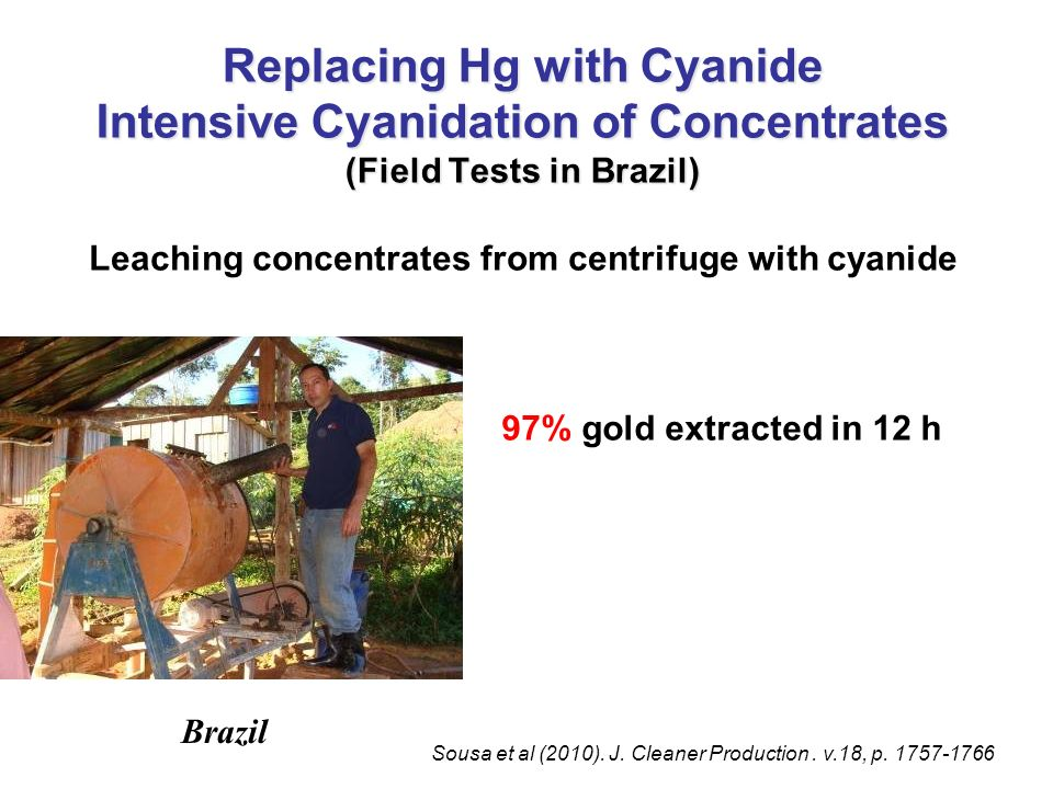 Leaching concentrates from centrifuge with cyanide