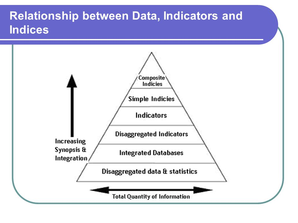 Relationship between Data, Indicators and Indices