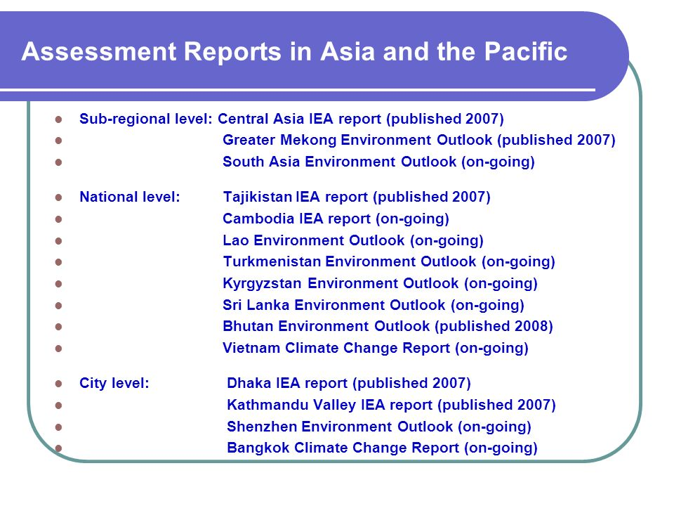 Assessment Reports in Asia and the Pacific