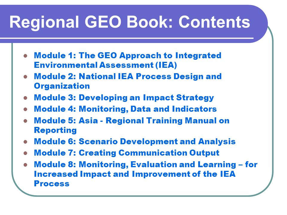 Regional GEO Book: Contents