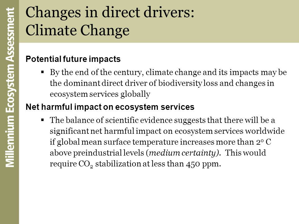 Changes in direct drivers: Climate Change