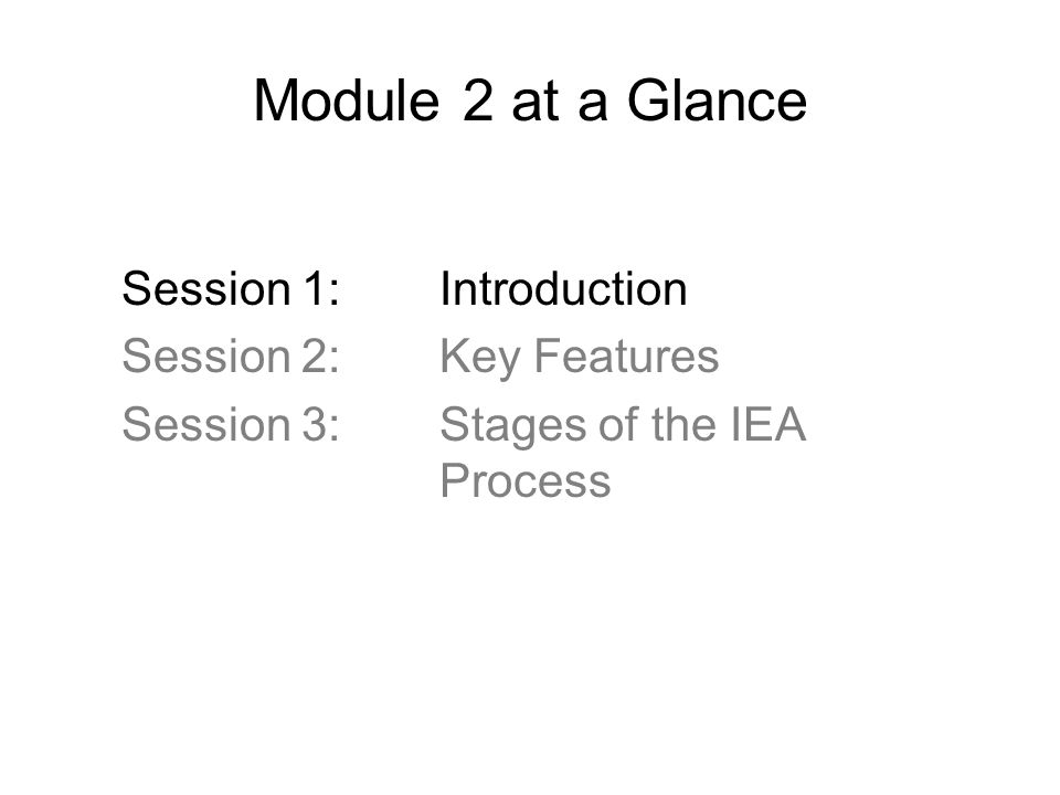 Module 2 at a Glance Session 1: Introduction Session 2: Key Features