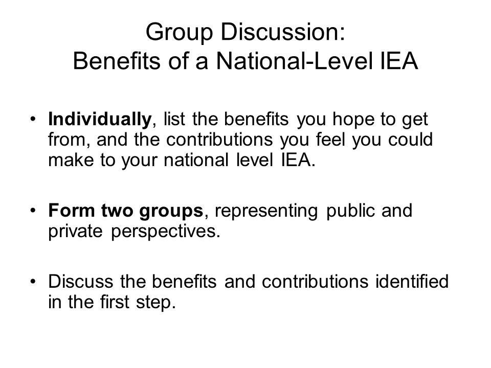 Group Discussion: Benefits of a National-Level IEA