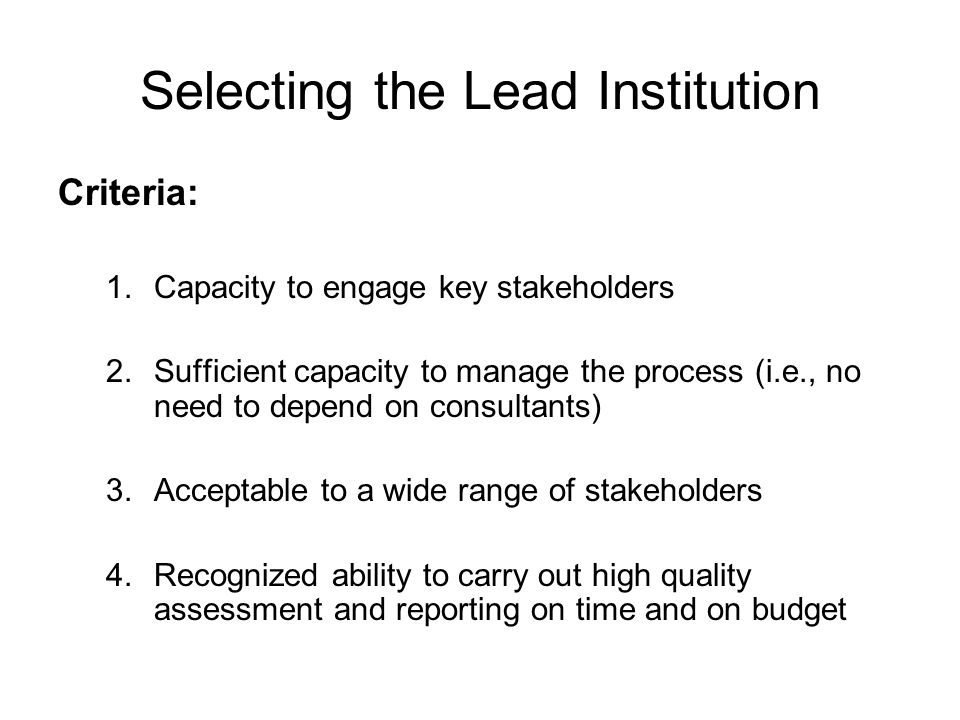 Selecting the Lead Institution