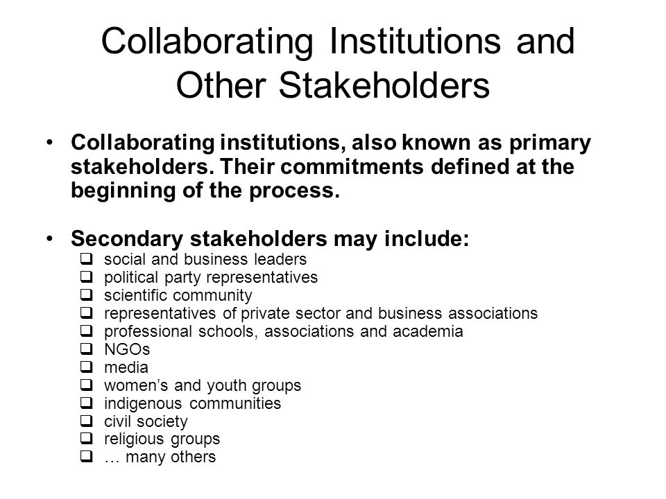 Collaborating Institutions and Other Stakeholders