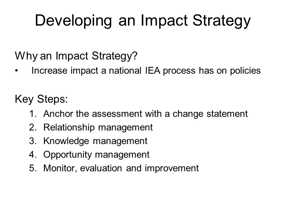 Developing an Impact Strategy