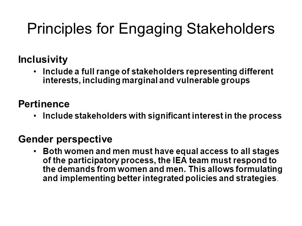Principles for Engaging Stakeholders