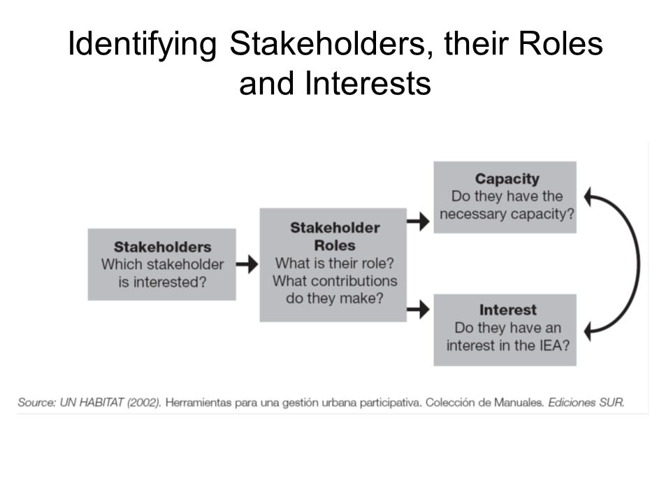 Identifying Stakeholders, their Roles and Interests