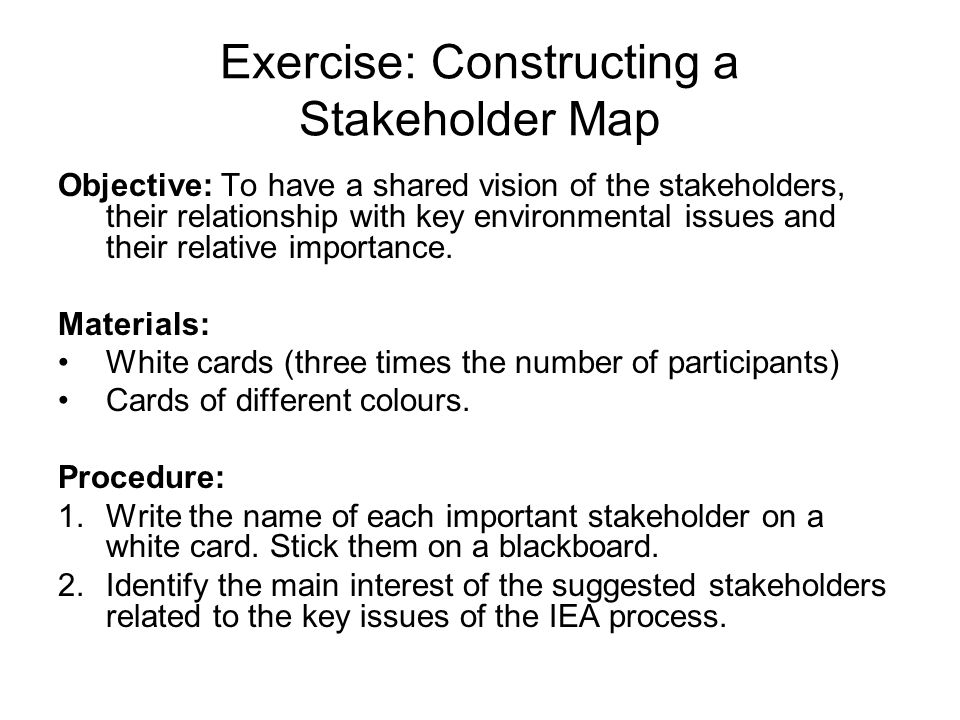 Exercise: Constructing a Stakeholder Map