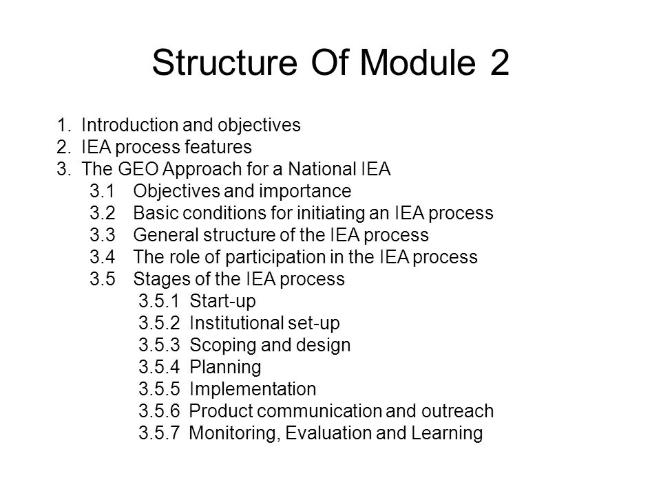 Structure Of Module 2 Introduction and objectives IEA process features