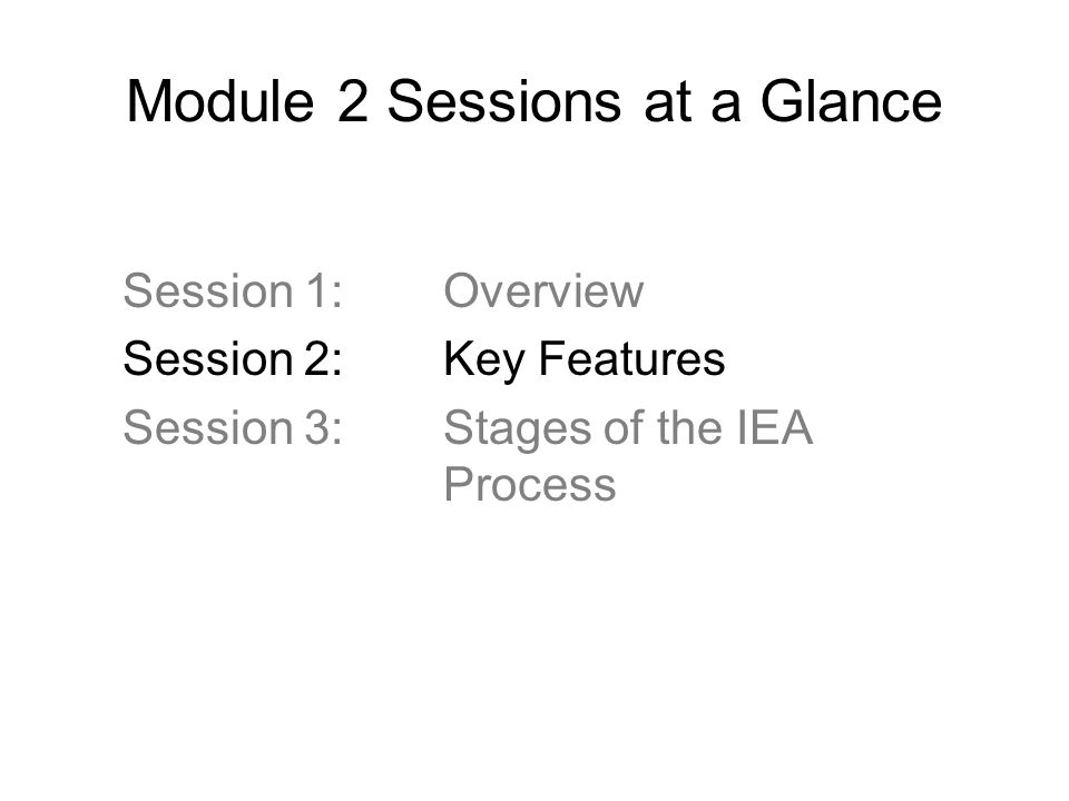 Module 2 Sessions at a Glance