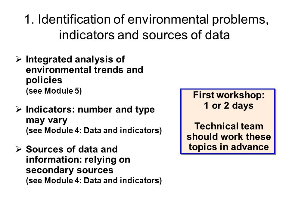 1. Identification of environmental problems, indicators and sources of data