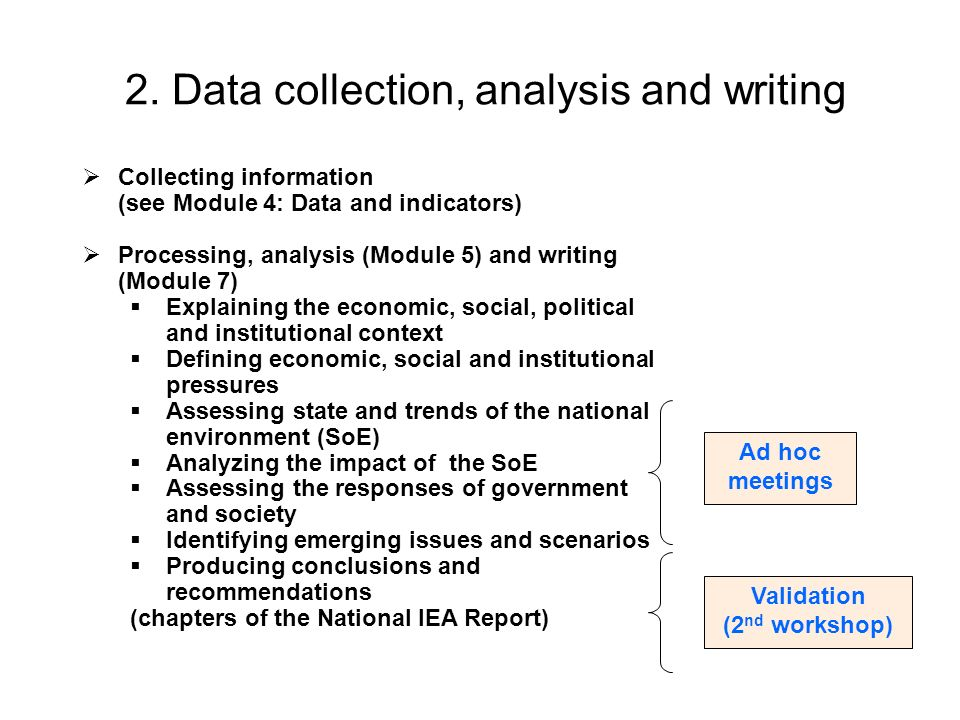 2. Data collection, analysis and writing