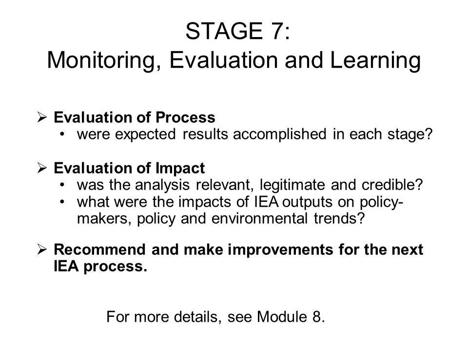 STAGE 7: Monitoring, Evaluation and Learning