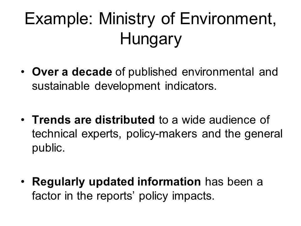Example: Ministry of Environment, Hungary