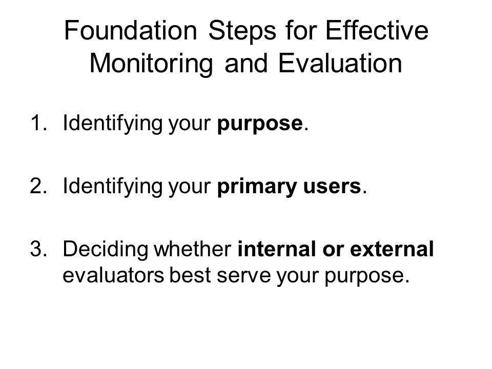 Foundation Steps for Effective Monitoring and Evaluation