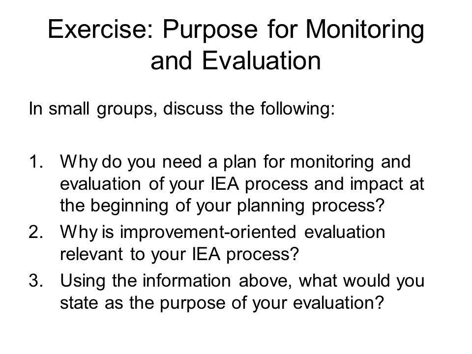 Exercise: Purpose for Monitoring and Evaluation