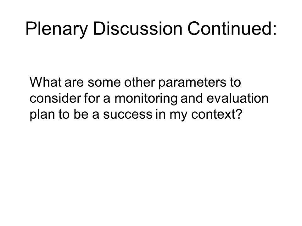 Plenary Discussion Continued: