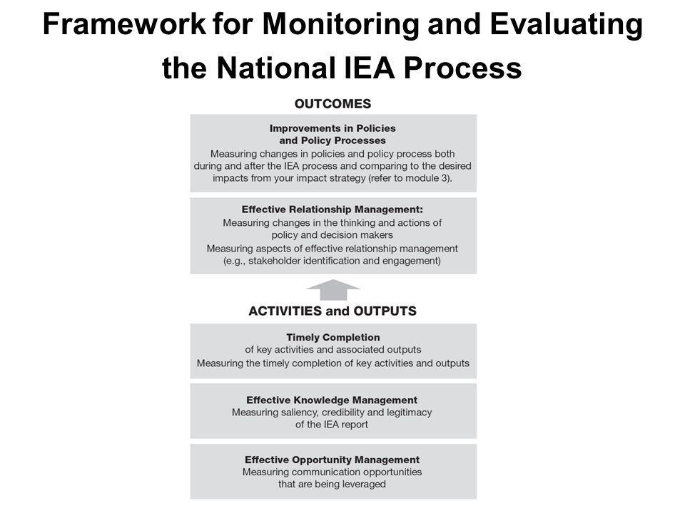 Framework for Monitoring and Evaluating the National IEA Process