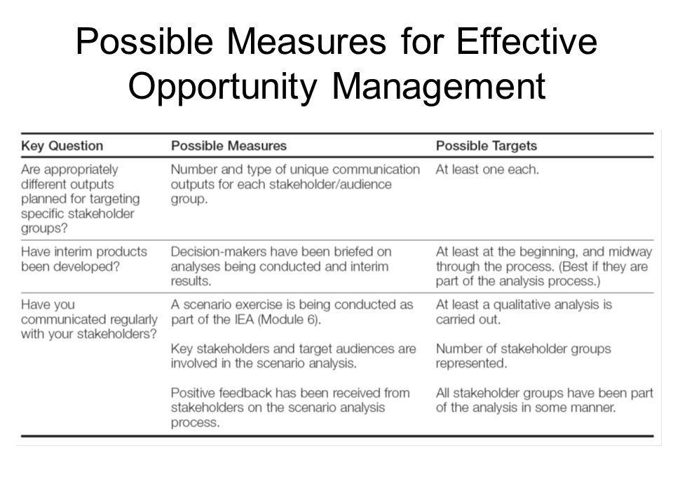 Possible Measures for Effective Opportunity Management