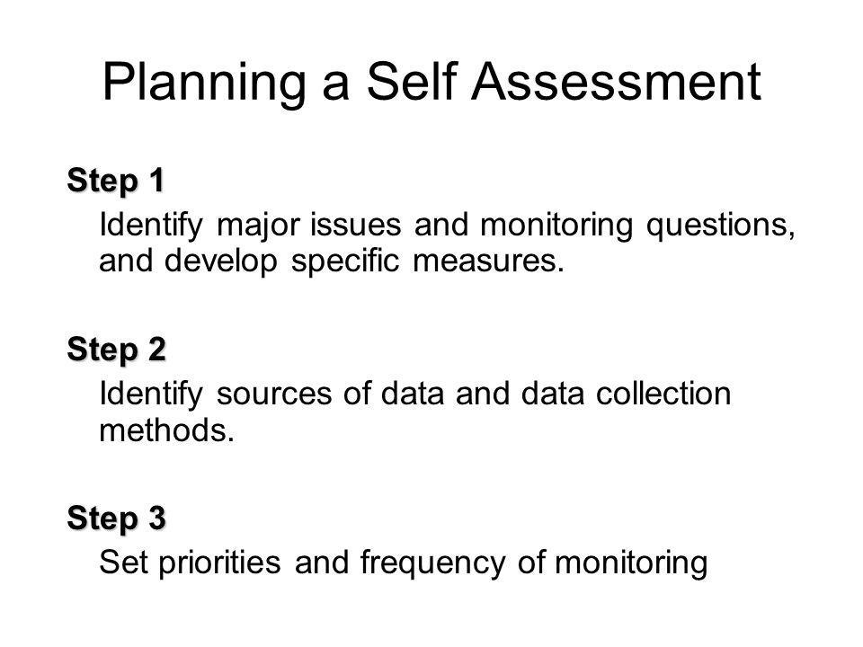 Planning a Self Assessment