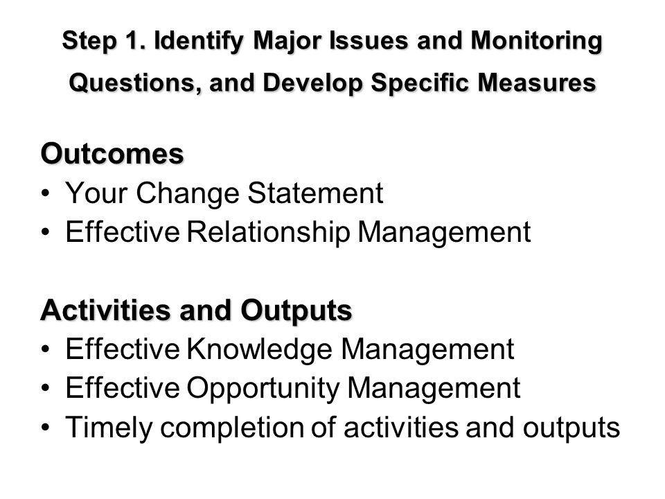 Effective Relationship Management Activities and Outputs