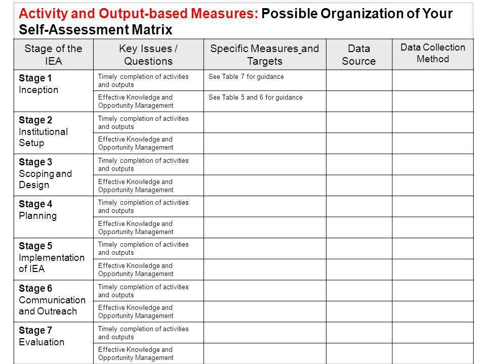 Activity and Output-based Measures: Possible Organization of Your Self-Assessment Matrix