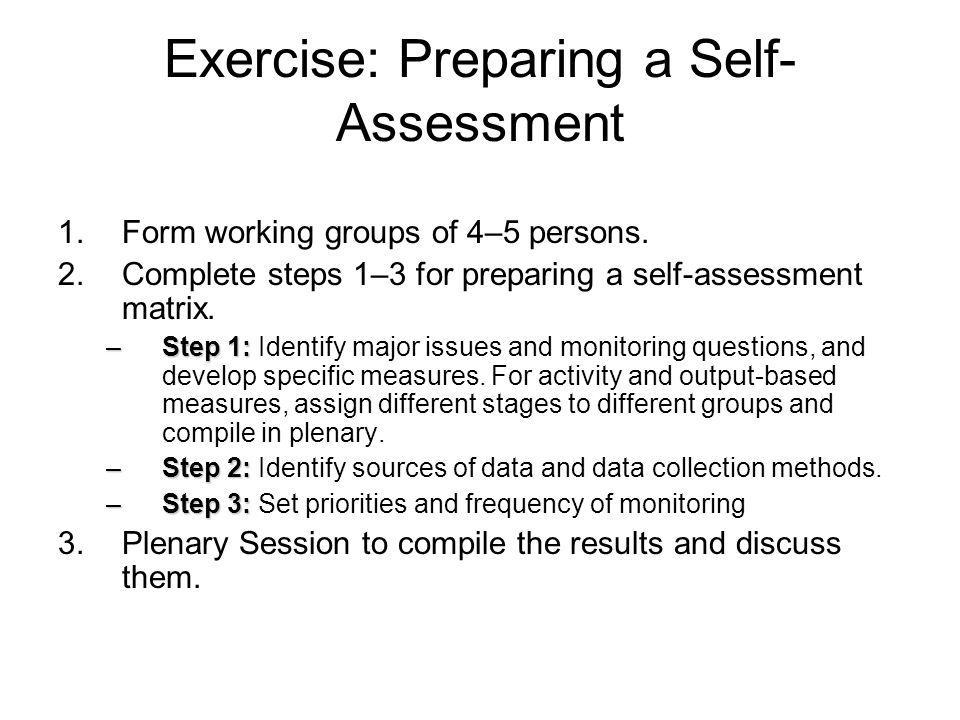 Exercise: Preparing a Self-Assessment