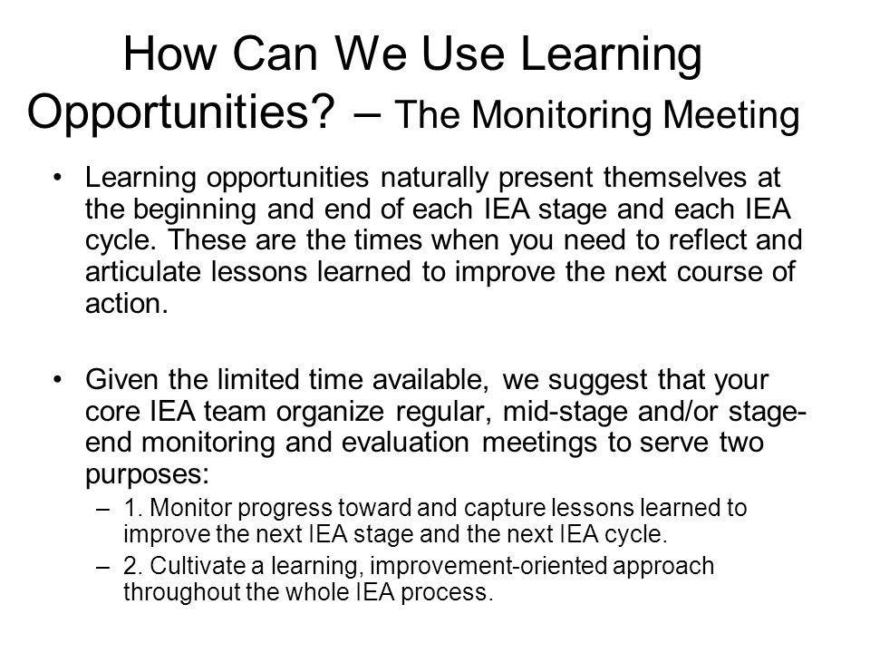 How Can We Use Learning Opportunities – The Monitoring Meeting